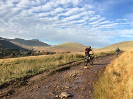 Leading a group towards The Gap in the heart of the Brecon Beacons...