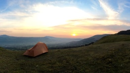 Waking to sunrise after a wild camp on a local hilltop...