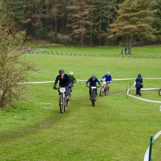 Jostling for position on one of the wider sections of the course...
